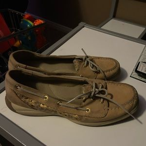 Womens Sperry Top Sider Boat Shoes Animal Print 10